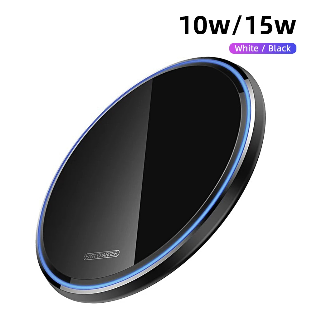 H345a1daf37944dae979039762c46c38bZ - Wireless Phone Charger 10W 15W Ultra Thin Desktop Tabletop Battery Quick Charge Fast Charger for Smartphone Aluminum Alloy