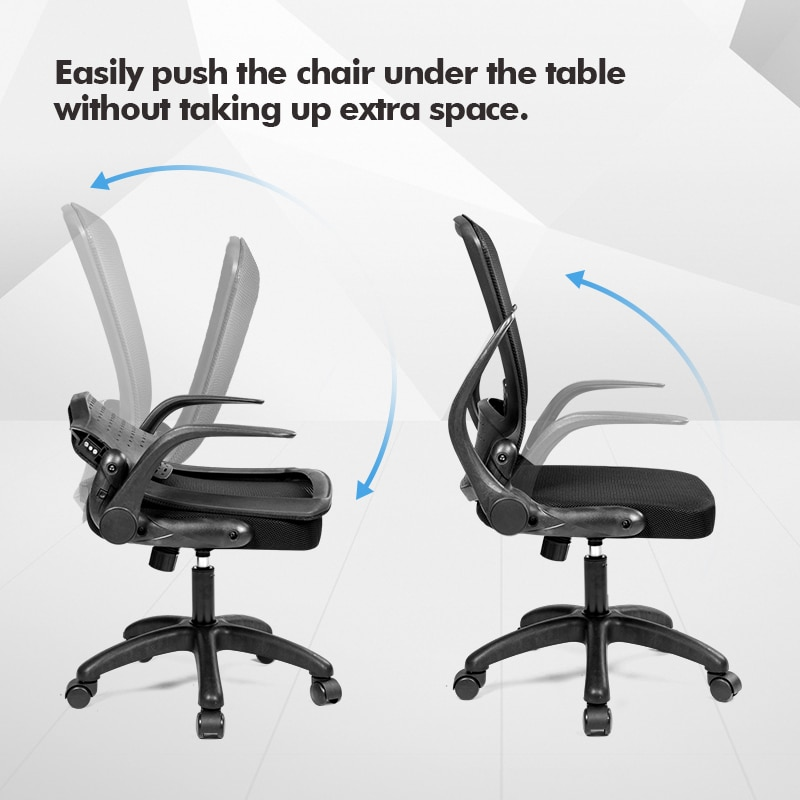 H34f8b30081a54df4b6d253dd6a5afec6q - Rotating Mesh Chair Breathable Adjustable Height Foldable Computer Chair Ergonomic Executive Black Office Chair Furniture