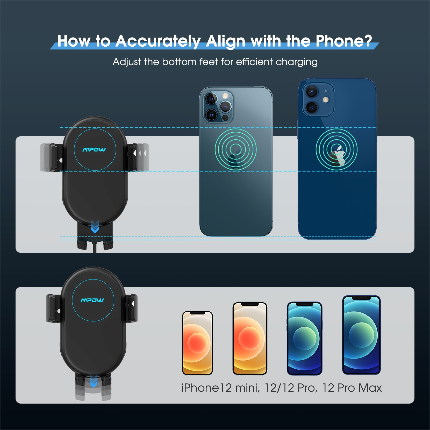 H36577b5c953b4e47ba00ad042d4e02efS - MPOW CA164 Wireless Car Charger 10W Auto-clamping Qi Fast Charging Car Mount with Built-in Battery Cup Holder Vent Phone Holder