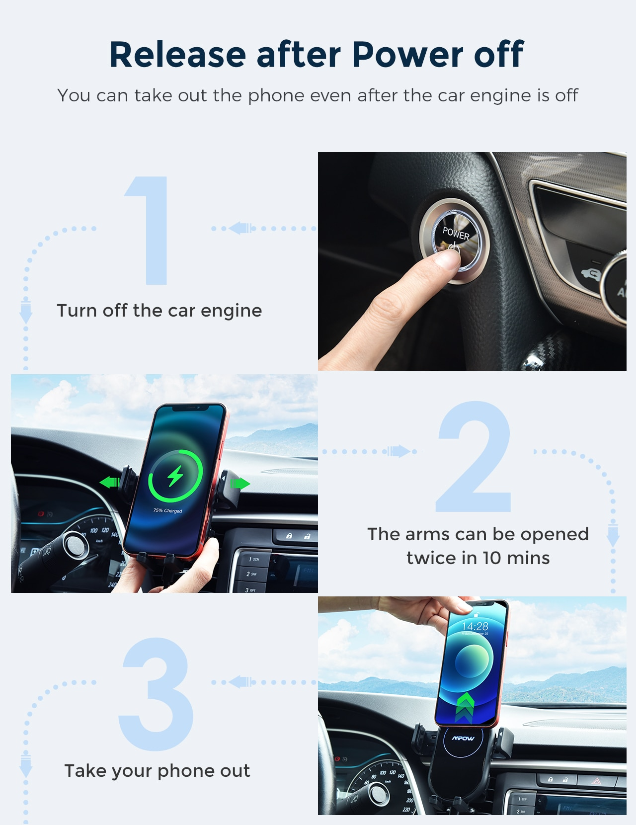 H3814d4f3cf3c41ae931102342ea48527s - MPOW CA160 Wireless Car Charger 15W Auto-clamping Qi Fast Charging Car Mount with Built-in Battery Cup Holder Vent Phone Holder