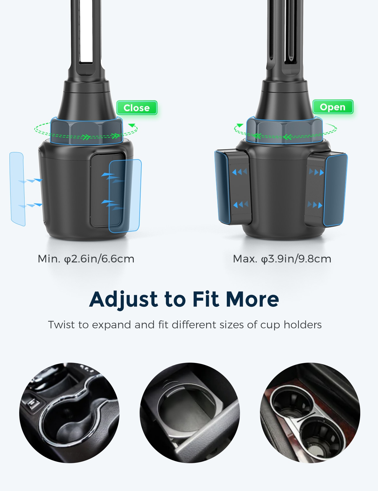 H3894a237c30a40adbb62d99a5b65e08eE - MPOW CA160 Wireless Car Charger 15W Auto-clamping Qi Fast Charging Car Mount with Built-in Battery Cup Holder Vent Phone Holder