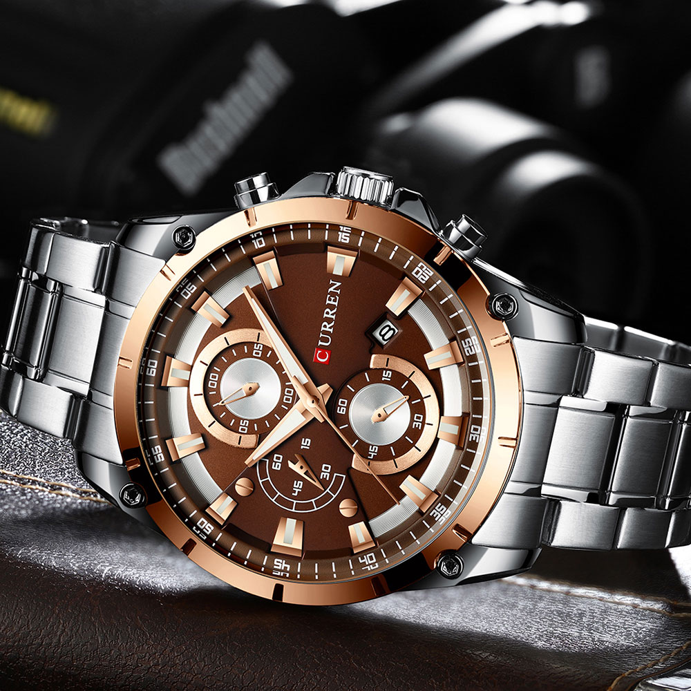 H394c2e9def4641e1a2bc903a5a8894c0h - CURREN Top Brand Luxury Men Watches Sporty Stainless Steel Band Chronograph Quartz Wristwatch with Auto Date Relogio Masculino
