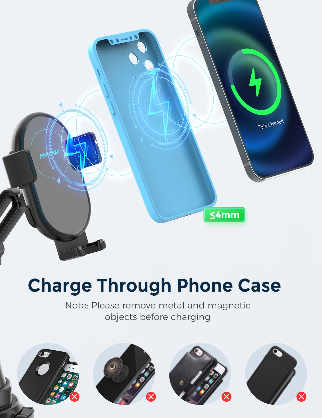H3c6f991eca394c5f8ece69abefb146647 - MPOW CA160 Wireless Car Charger 15W Auto-clamping Qi Fast Charging Car Mount with Built-in Battery Cup Holder Vent Phone Holder