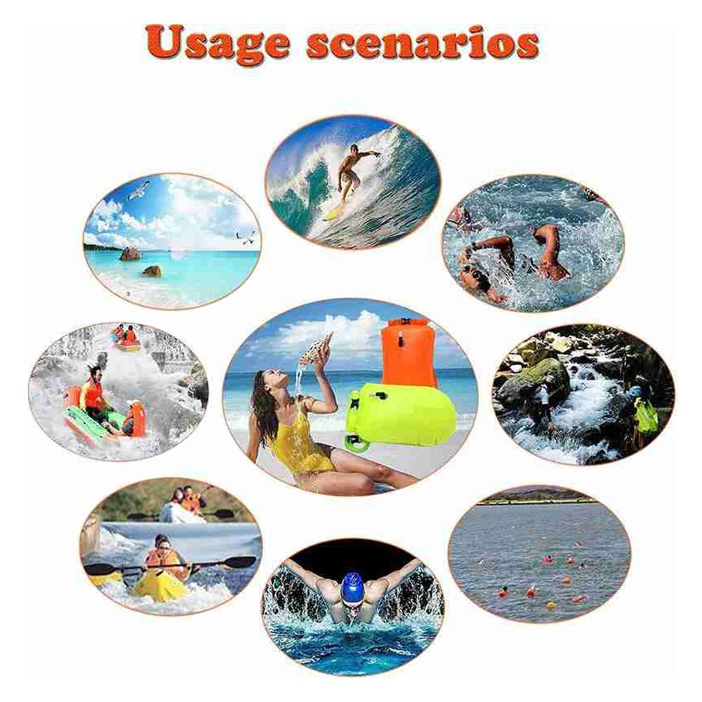 H3c88a8dcfd2c40e49e2d920522af3978l - Inflatable Open PVC Swimming Buoy Tow Float Dry Bag Double Air Bag with Waist Belt for Swimming Water Sport Safety bag