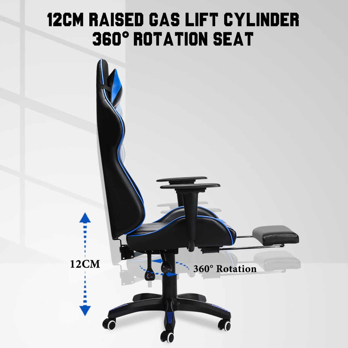 H3debd692980240068c533db3fe9fce10h - 155° Gaming Chairs with Footrest Ergonomic Office Chair Adjustable Swivel Leather High Back Computer Desk Chair with Headrest
