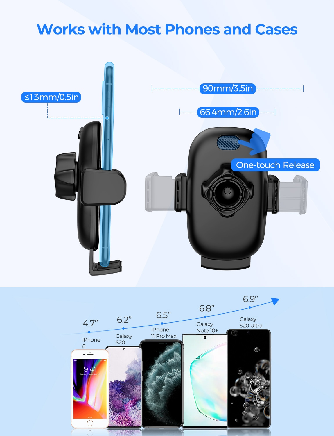 H3e2f29cf0b654cd6b52c46ab313dbcccU - MPOW CA158 Phone Mount Adjustable Cup Holder Car Mount with Long Gooseneck 360 Degrees Rotation Compatible with iPhone Galaxy