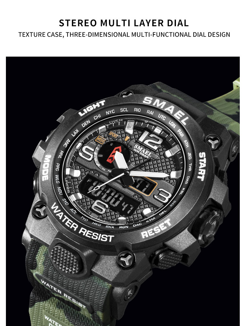 H3fea3c2ced0840fe8d1ac9b0c016f2f65 - SMAEL Brand Men Sports Watches Dual Display Analog Digital LED Electronic Quartz Wristwatches Waterproof Swimming Military Watch