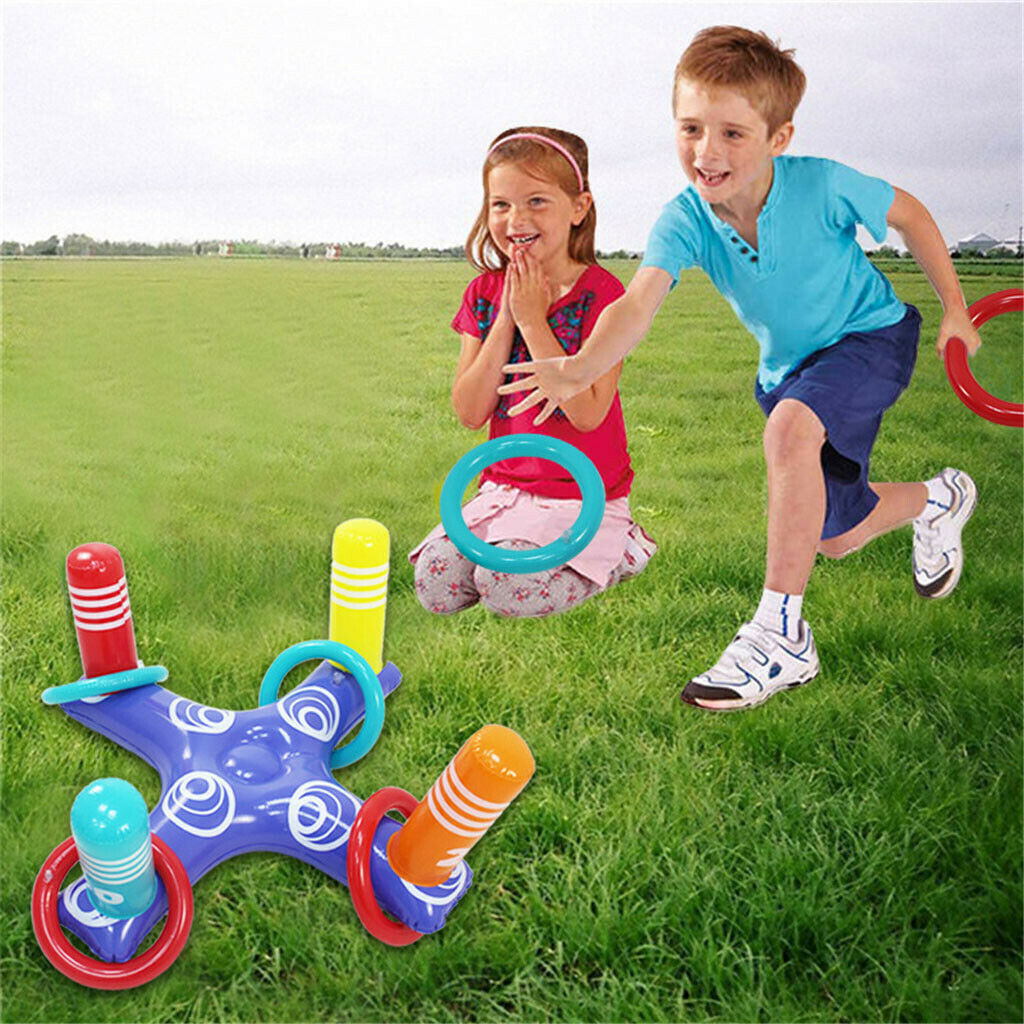 H40eb934373a54b82843d9ba0e2a6f97bv - Inflatable Ring Toys Swimming Pool Floating Ring Summer Water Beach Cross Ring Toss Game With 4PCS Rings For Children /Adults