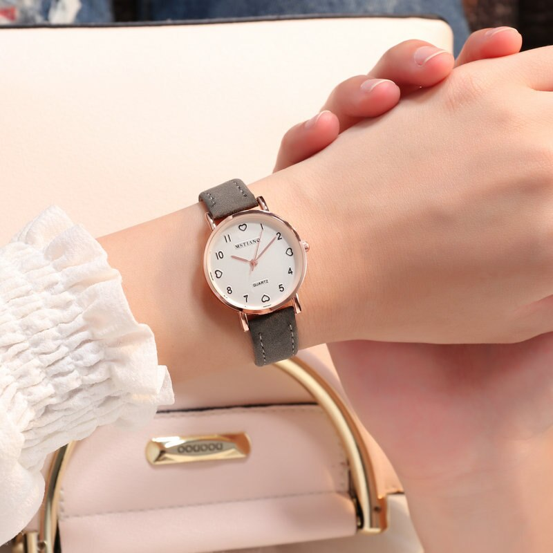 H40fbef1faba5410e9eac372595d427f6V - Simple Vintage Women Small Dial Watch Sweet Leather Strap Wrist Watches Gift