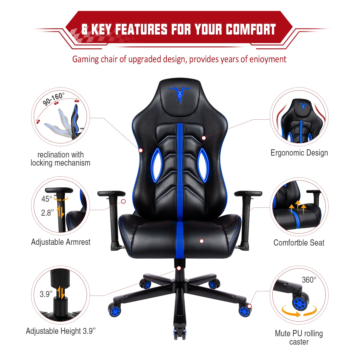 H418c23ee3b604707adac5faf5633bd26M - Furgle GPRO Office Chair Memory Foam Gaming Chair Adjustable Tilt Angle 4D Armrest Ergonomic High-Back Leather Computer Chairs