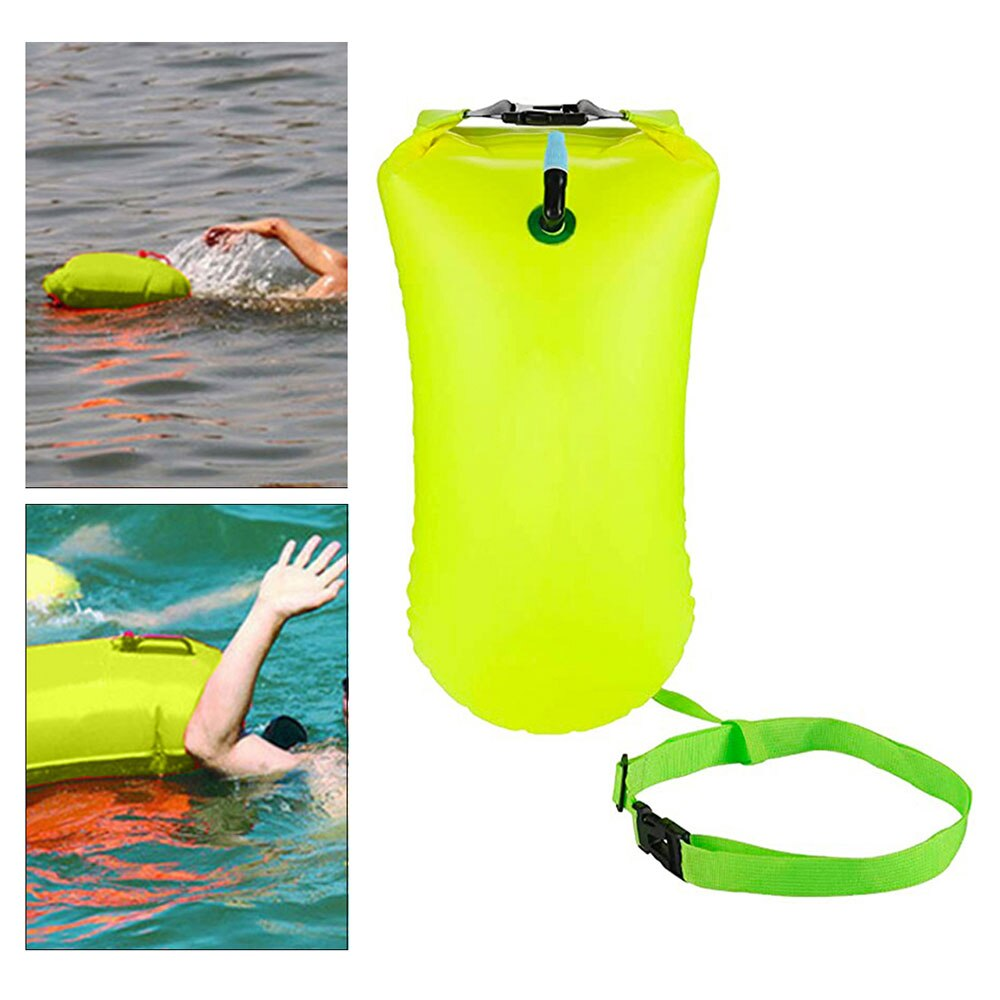 H41adf7e0394b466eb707743d38b3de50v - Inflatable Open PVC Swimming Buoy Tow Float Dry Bag Double Air Bag with Waist Belt for Swimming Water Sport Safety bag