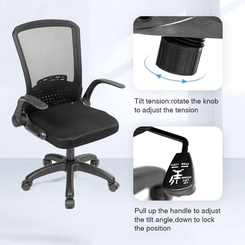 H4282251a1f7a45e19f18579e68809a87C - Rotating Mesh Chair Breathable Adjustable Height Foldable Computer Chair Ergonomic Executive Black Office Chair Furniture