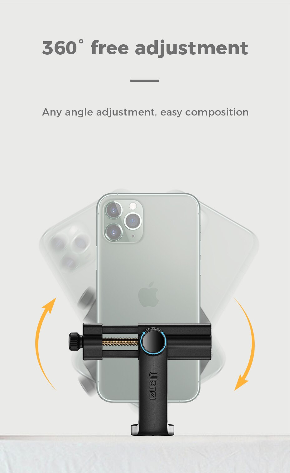H44589e23bd284766801e9645053a43221 - Ulanzi ST-17 Universal Smartphone Clip Mount Holder Cold Shoe Vlog Tripod Mount Vertical Shooting for Huawei iPhone Android