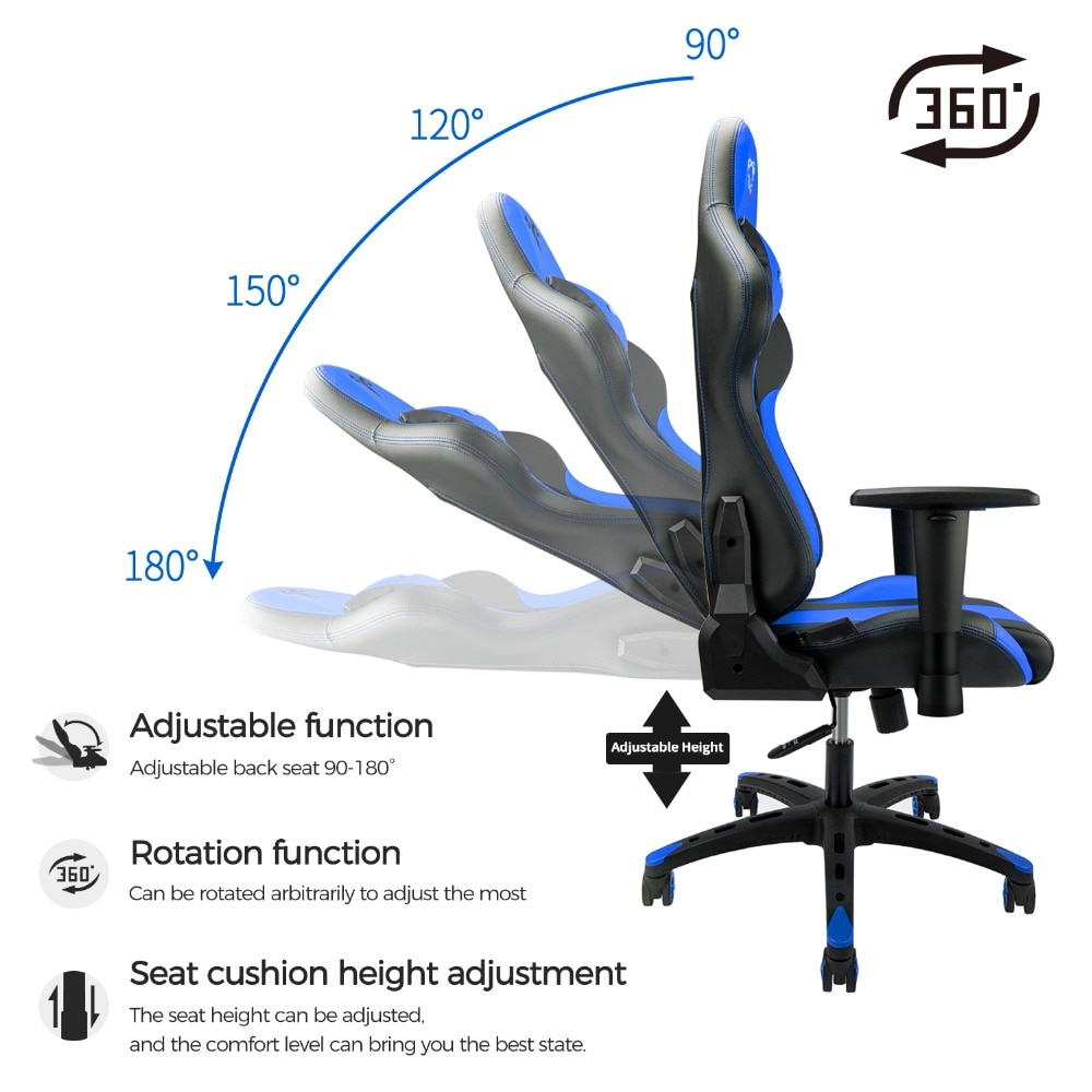 H447ad40b377448bcb2e75364c83267d01 - Furgle Gaming Office Chairs 180 Degree Reclining Computer Chair Comfortable Executive Computer Seating Racer Recliner PU Leather