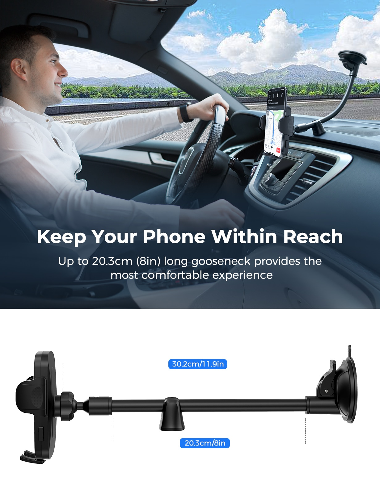 H4506ae0ea4734057a7c5e18e27740980D - MPOW CA159 Upgraded Long Gooseneck Phone Holder for Car Windshield Car Phone Mount for iPhone SE 11 Pro Galaxy Note and More