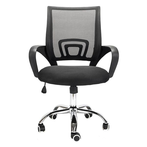 H462a9e1f321d49de9f3ec1cdb1bdc85bk - Mesh Back Office Chair Gas Lift Adjustable Height Swivel Chair Durable Plastic Armrests White&Black[US-Stock]