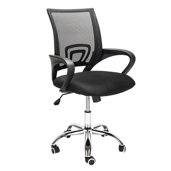 H4703bd12ca1548109623d77fa9914094I - Mesh Back Office Chair Gas Lift Adjustable Height Swivel Chair Durable Plastic Armrests White&Black[US-Stock]