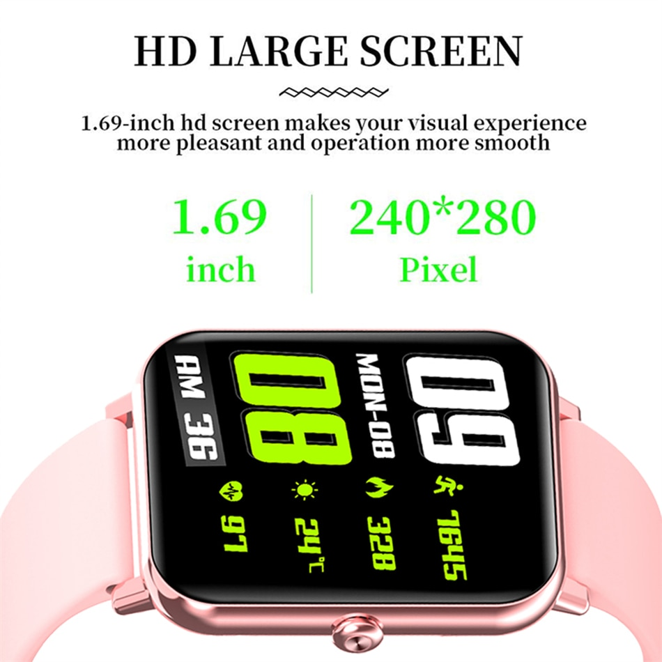 H487250367de94a34a9ee9432524b217fk - LIGE New 1.69 Inch Full Touch Smart Watch Women Real-time Heart Rate Body Temperature Monitor IP67 Waterproof Smartwatch Ladies