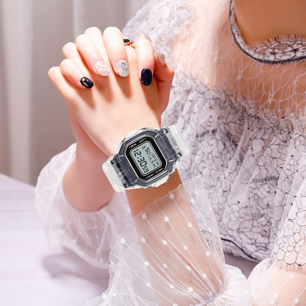 H48d80210e07d44e99ed85dc9532e219dZ - New Fashion Transparent Electronic Watch LED Ladies Watch Sports Waterproof Electronic Watch Candy Multicolor Student Gift