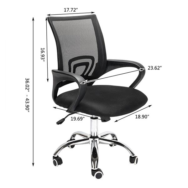 H4bfa191441804636bc897e5f00872e9f5 - Mesh Back Office Chair Gas Lift Adjustable Height Swivel Chair Durable Plastic Armrests White&Black[US-Stock]