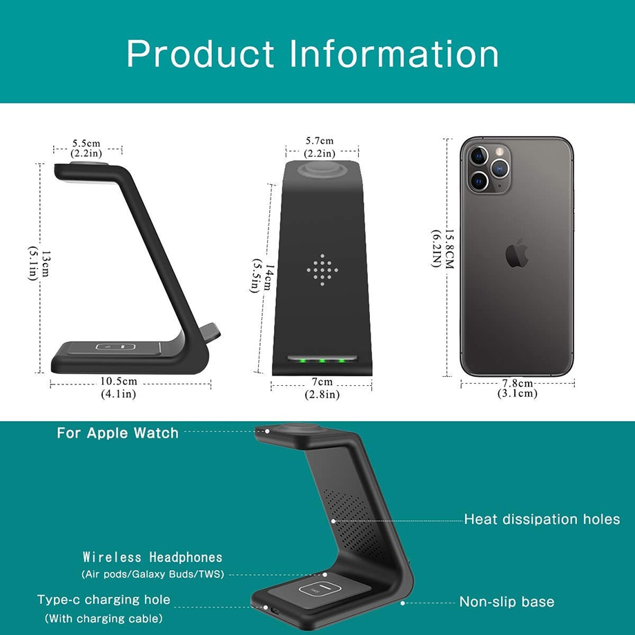 H4db207ee8d794fc3a358662cfc74dba2Y - Bonola Qi 3 in1 Wreless Chager Stand for iPhone11/XR/Xs/AirPods3/iWatch5 Fast Wireles Chargeing For SamsungS20/S10/Watch/Buds