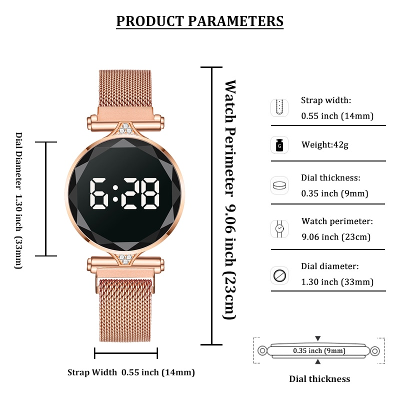 H4ef526eeed894c39813cc2a4f0a1f03aC - 2021 Luxury Digital Magnet Watches For Women Rose Gold Stainless Steel Dress LED Quartz Watch Female Clock Relogio Feminino