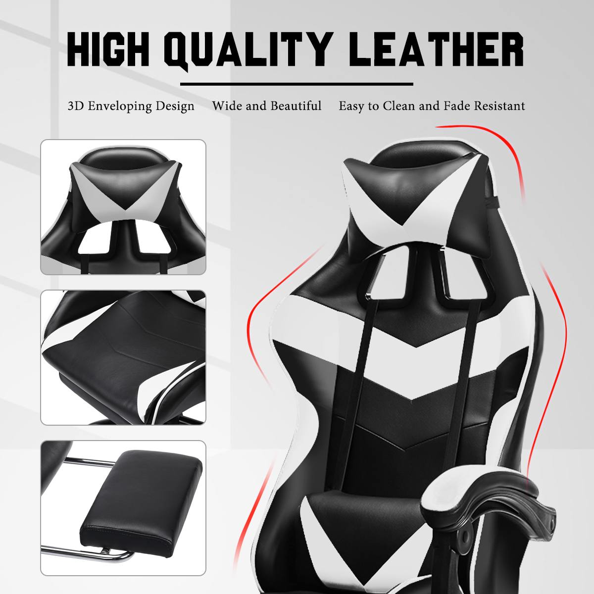 H519430c477374705bae85cc9a21a55e50 - Leather Office Gaming Chair Home Internet Cafe Racing Chair WCG Gaming Ergonomic Computer Chair Swivel Lifting Lying Gamer Chair