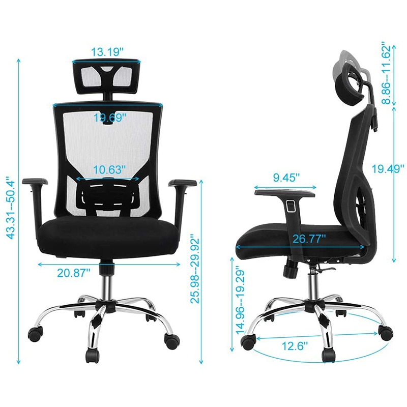 H51c4e75dc0a7487c8b4424711ebf05c0I - Quality Office Chair Black Swivel Mesh Computer Ergonomic Chair High Back With Adjustable Armrest Head Support Height Adjustable