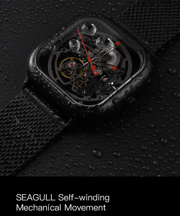 H51da66a16e44405d807ee90edfe8557f9 - CIGA Men's Watch 1Pc Sliver Stainless Steel Mesh Mecanico Square Movement Simple Waterproof Black Male Watches Mens relogio