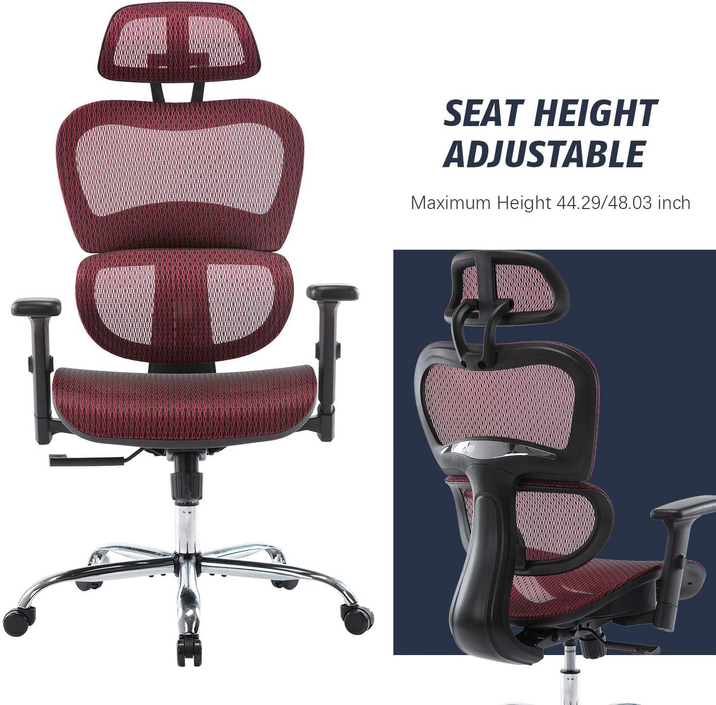 H563618cbe0df42bfb1710c068596670bo - Office Chair Ergonomics Mesh Chair Computer Chair Desk Chair High Back Chair gaming chair With Adjustable Headrest and Armrests