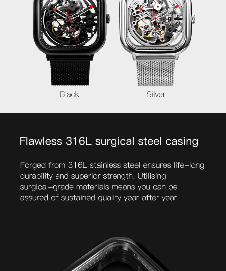 H5764a6d927d34f3d8e91f82d590f40c7T - CIGA Men's Watch 1Pc Sliver Stainless Steel Mesh Mecanico Square Movement Simple Waterproof Black Male Watches Mens relogio