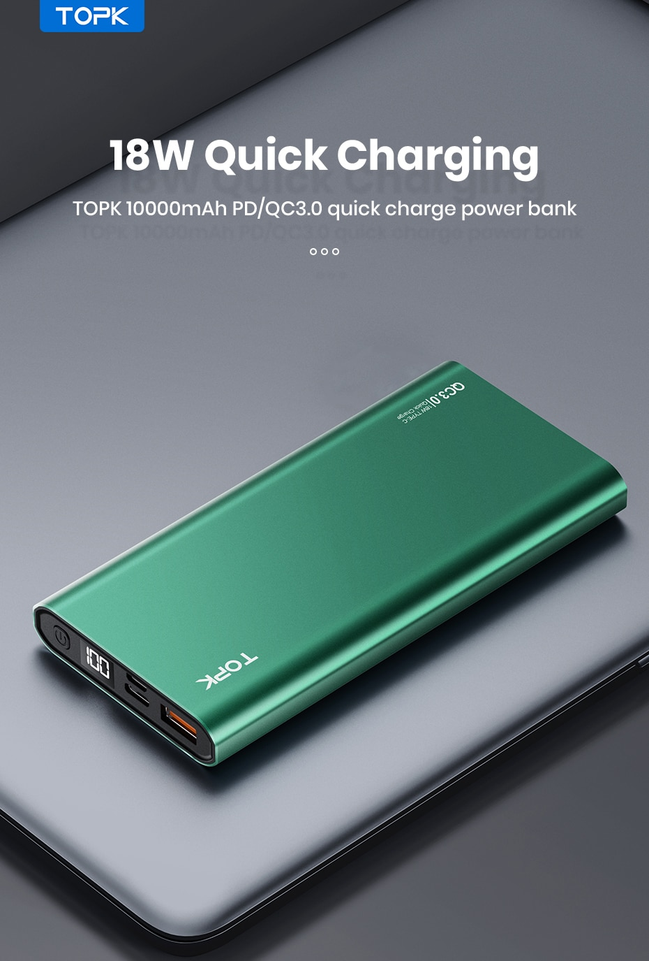 H580f2d73840e40d08626bcde36f5719aW - TOPK I1006P Power Bank 10000mAh Portable Charger LED External Battery PowerBank PD Two-way Fast Charging PoverBank for Xiaomi mi