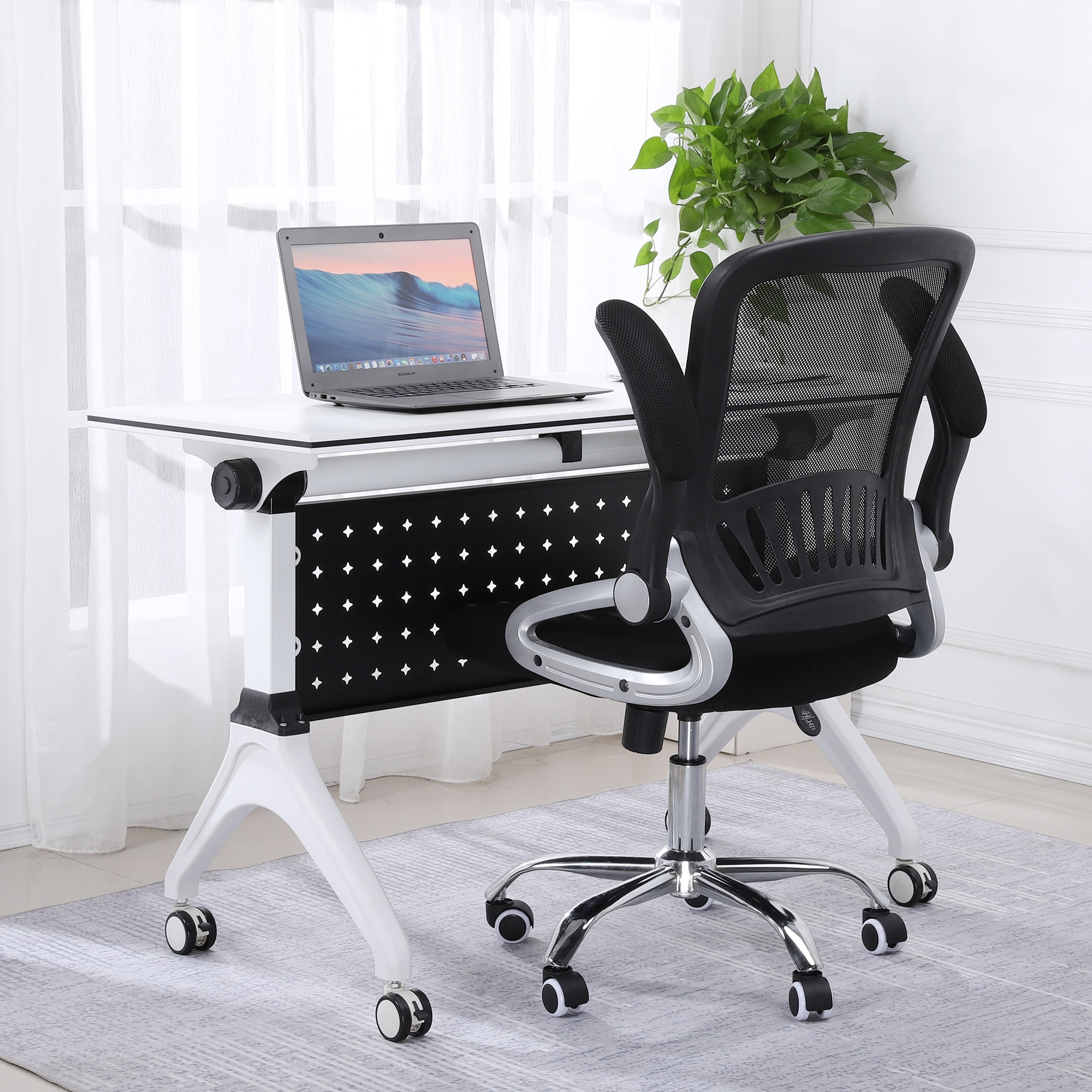 H5aa387db3d2b4f3b9f53b7eddcefc4b2N - Sigtua Swivel Office Chair Height-adjustable Desk Chair Breathable PC Chair Comfortable Ergonomic Executive Computer Chair Black