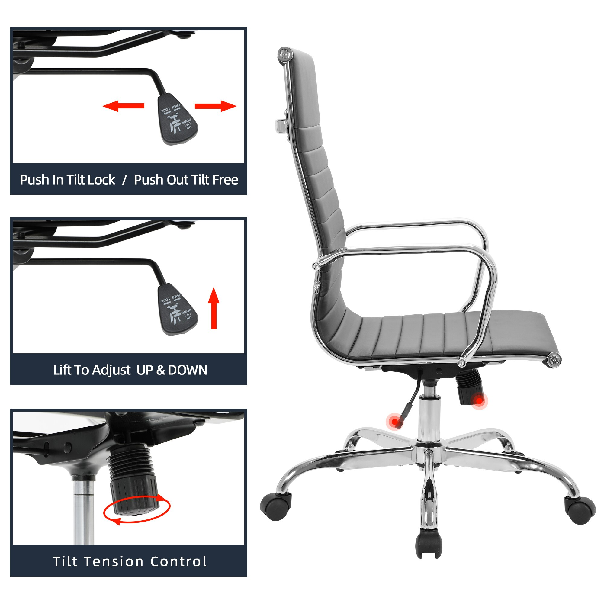 H5b8c644aa2754f1b8838ec0035bbcdb6Z - GOSKEY High Back Office Chair PU Leather Ribbed Swivel Tilt Adjustable Home Desk Chair with Armrest Executive Conference Black