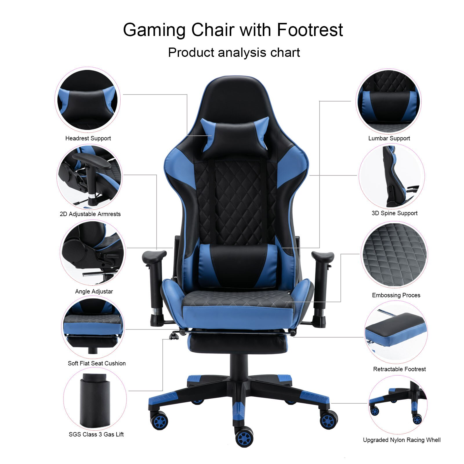 H5c637fdf5e2044a4860599d8ce8c5f3ay - Gaming Chair Computer Armchair Adjustable Armrest And Footrest PVC Household Office Chair Ergonomic Computer Gamer Chair