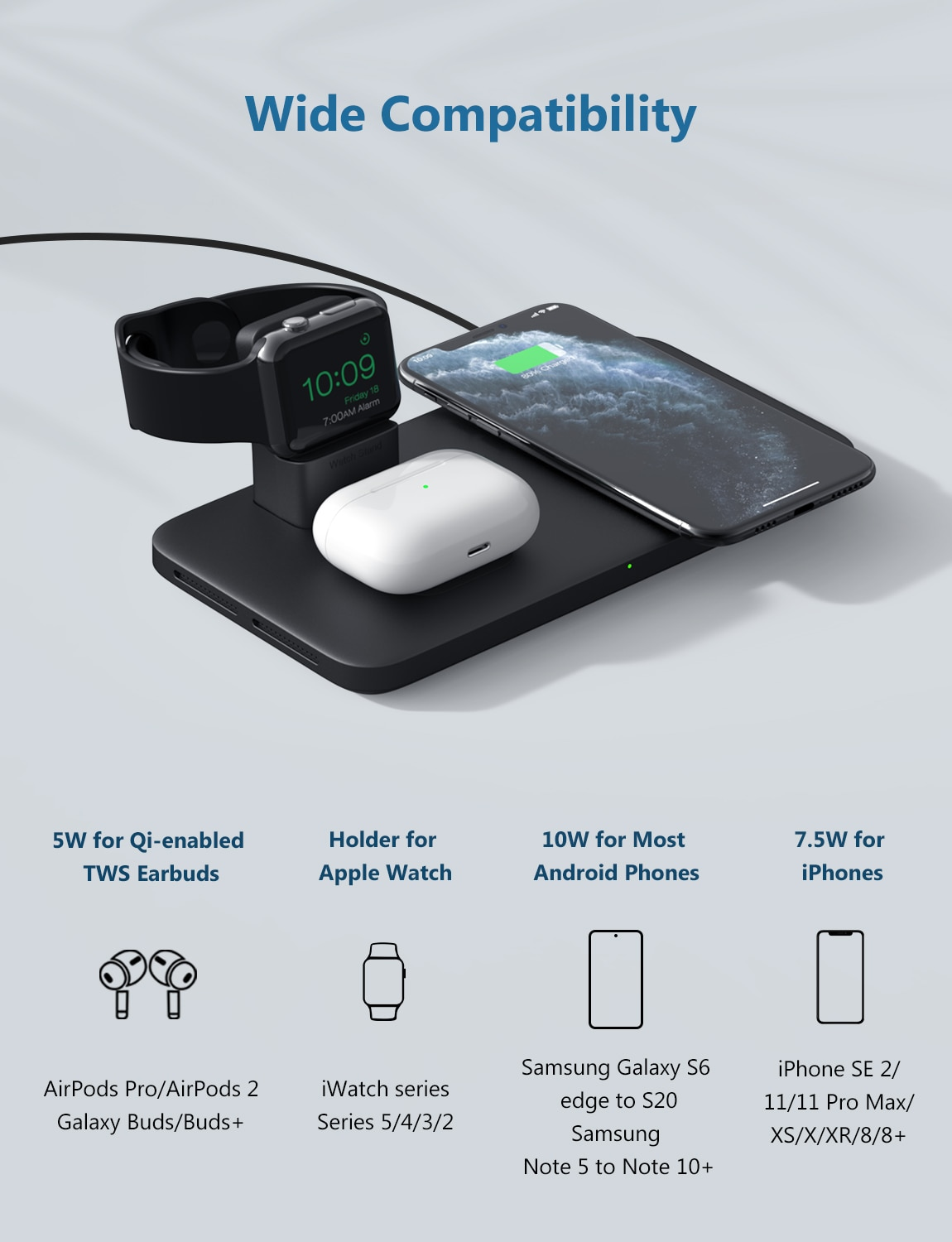 H5d242482bffd4fbeb7d21073af1952c9P - Seneo PA202 Wireless Charger 3 in 1 for iPhone 12 11 Wireless Charging Pad for AirPods Pro 2 Charging Dock for iWatch 5 4 3 2