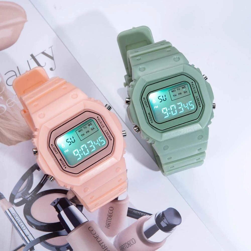 H5d28ee7ed19c4540a62c0da4dd5be028q - New Fashion Transparent Electronic Watch LED Ladies Watch Sports Waterproof Electronic Watch Candy Multicolor Student Gift