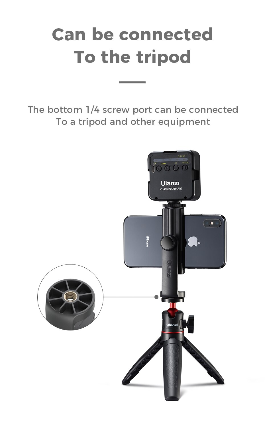 H5dce53ff0e1d4d6184c41a141e1d4d0cu - Ulanzi ST-17 Universal Smartphone Clip Mount Holder Cold Shoe Vlog Tripod Mount Vertical Shooting for Huawei iPhone Android
