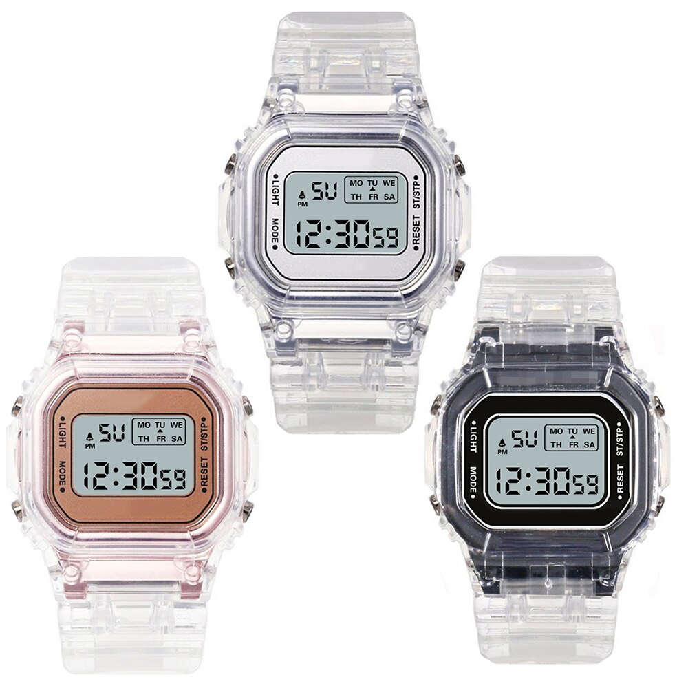 H5dd19d9d089547bd875fae816b45e1c0w - New Fashion Transparent Electronic Watch LED Ladies Watch Sports Waterproof Electronic Watch Candy Multicolor Student Gift