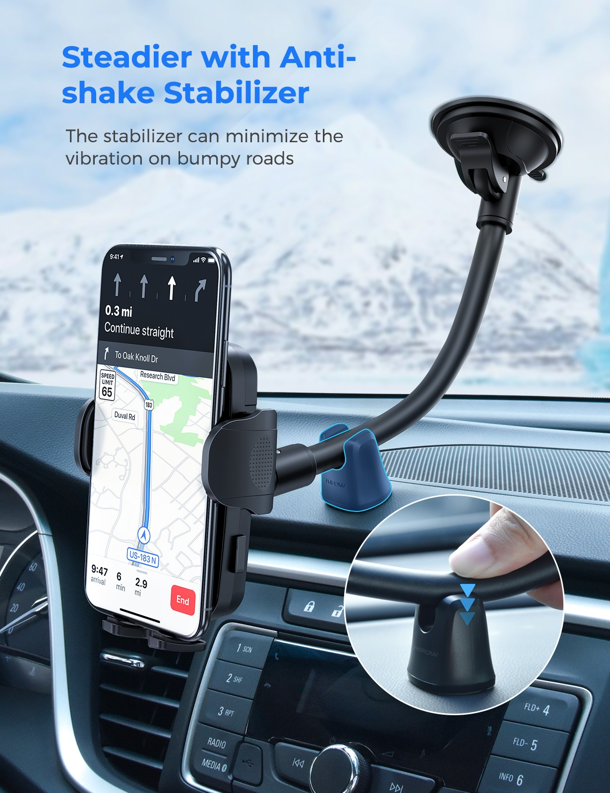 H5e4bff3e8ad049ba93f61c115a770ffdX - MPOW CA159 Upgraded Long Gooseneck Phone Holder for Car Windshield Car Phone Mount for iPhone SE 11 Pro Galaxy Note and More