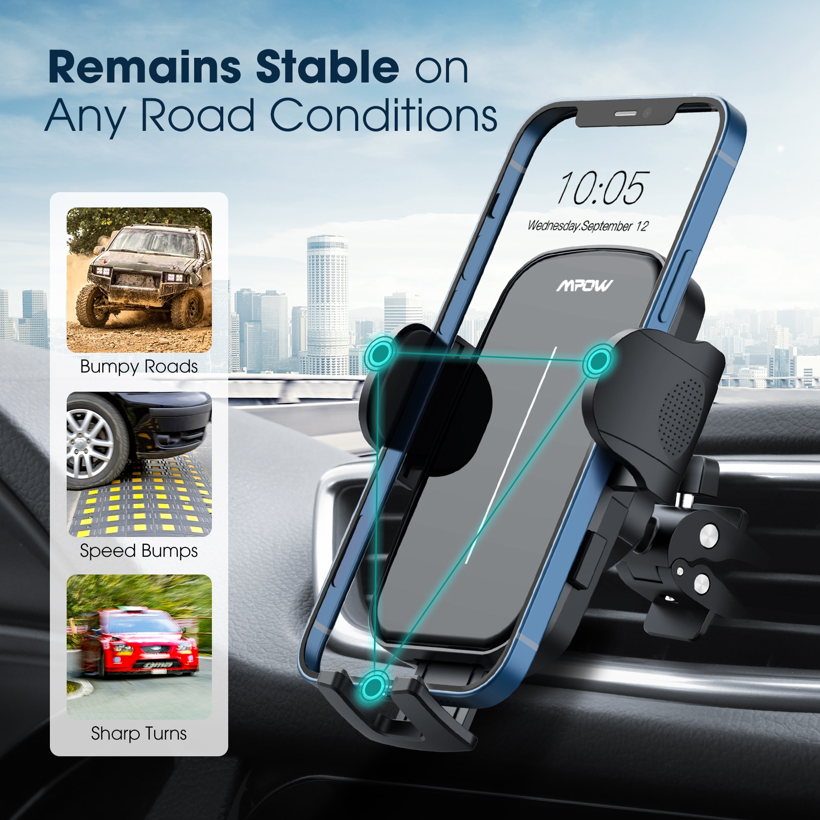 H5e6520a045974acfa96fdcb45963ca37I - Mpow CA174 Universal Car Phone Mount Air Vent Car Phone Holder with Stable Clip Compatible with iPhone 12 11 Pro Max XS 8 Galaxy