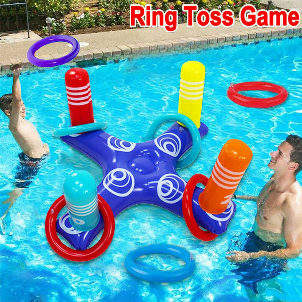 H5f9079e7497b43f592a07ec39b5fadf1m - Inflatable Ring Toys Swimming Pool Floating Ring Summer Water Beach Cross Ring Toss Game With 4PCS Rings For Children /Adults