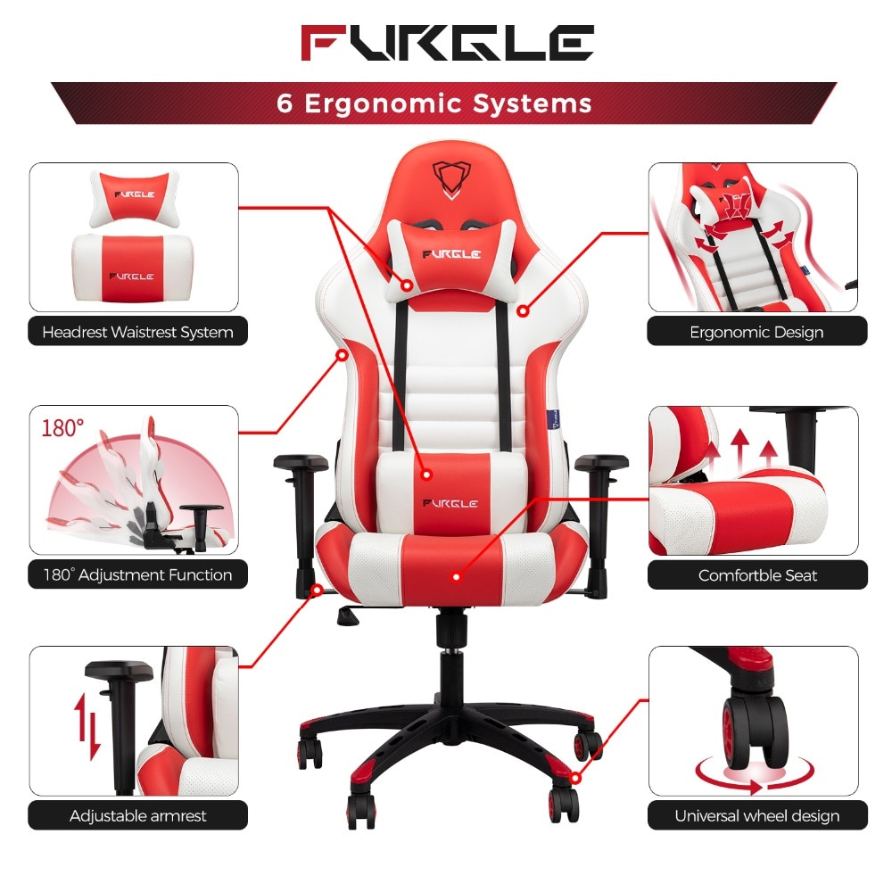 H60a5af9335774e2eb52cae8865b5cc9aD - Furgle Gaming Office Chairs 180 Degree Reclining Computer Chair Comfortable Executive Computer Seating Racer Recliner PU Leather