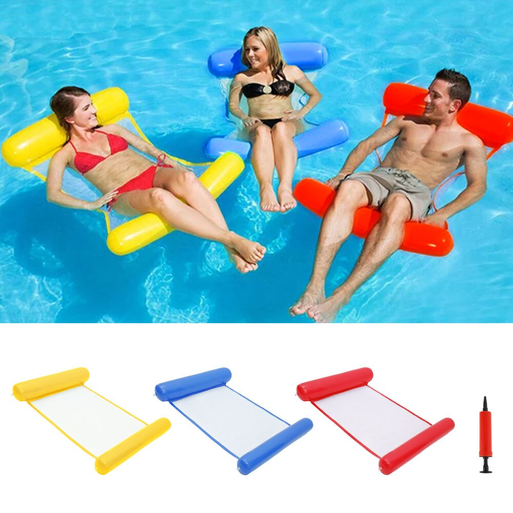 H60bf330904b747cf8965d005674bc3e21 - 2021 New Water Hammock Recliner Inflatable Floating Swimming Mattress Sea Swimming Ring Pool Party Toy Lounge Bed for Swimming