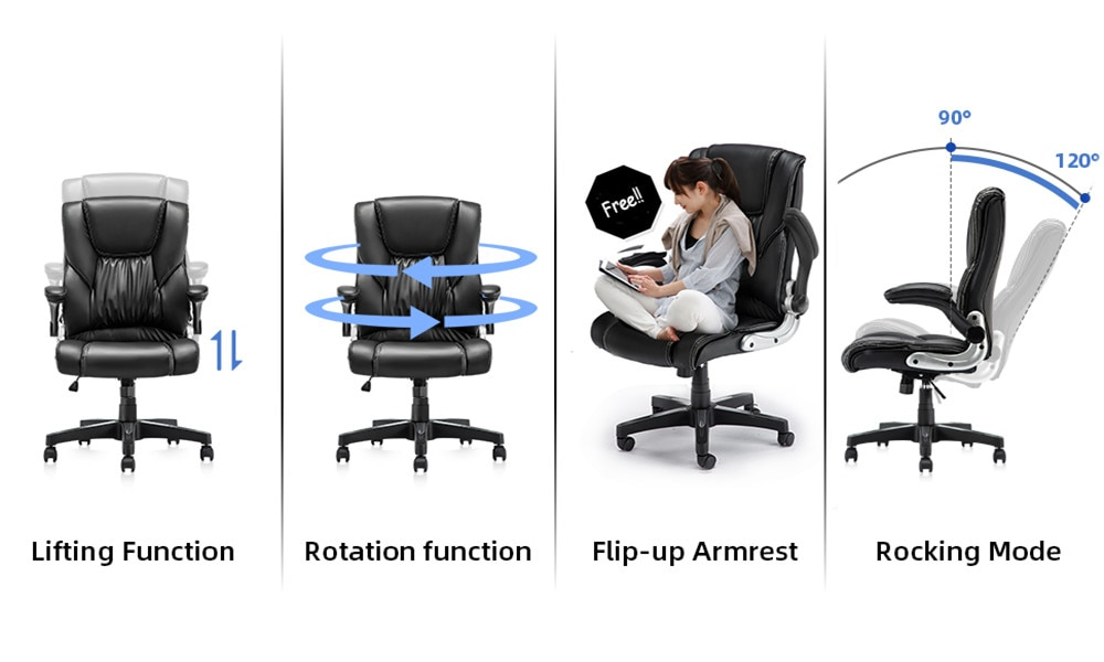 H60e2d180c90c43a28c253fd1bafb21a3z - YAMASORO Ergonomic Office Chair with Flip up Arms and Wheels Executive Office Desk Chairs Boss Leather Brown Computer Chairs