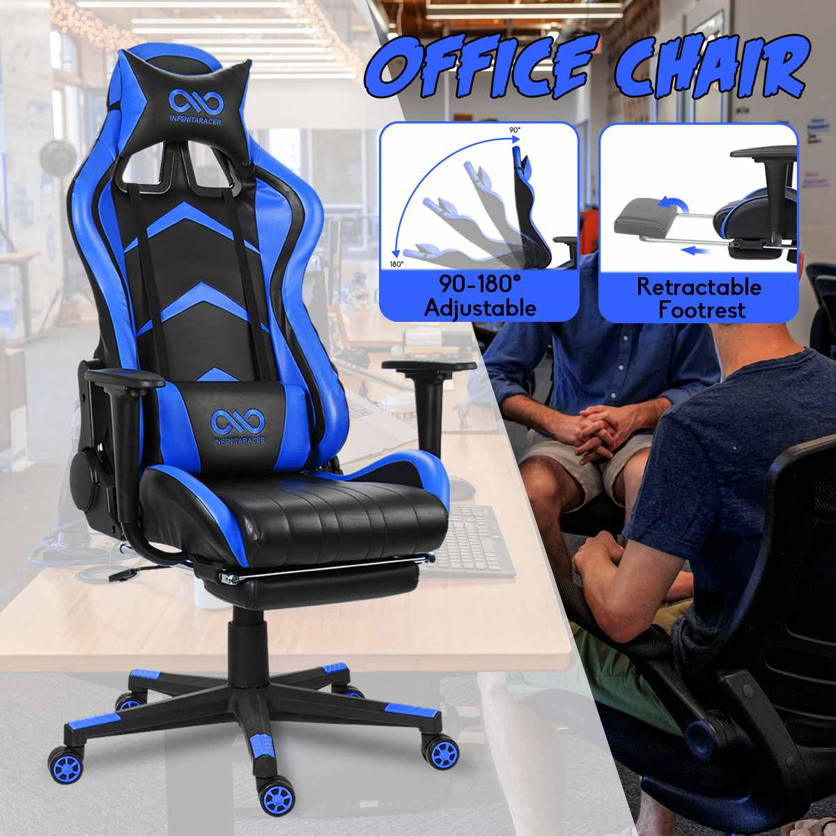 H61ab07c9ad29493685fff8f531507a392 - WCG Gaming Chair Computer Armchair Office Chairs Home Swivel Massage Chair Lifting Adjustable Desk Chair Lying Recliner Chair
