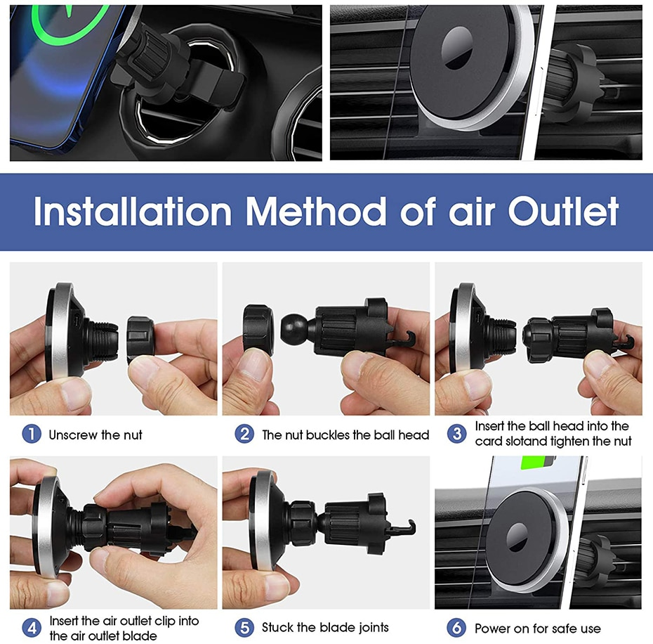 H6314f8e99ba94084afd0deeed26835bbO - Bonola Qi 15W Wireless Car Charger For iPhone 12/11/8 Plus/Samsung/Xiaomi Car Smart Phone Charging Holder 15W Charger on Car