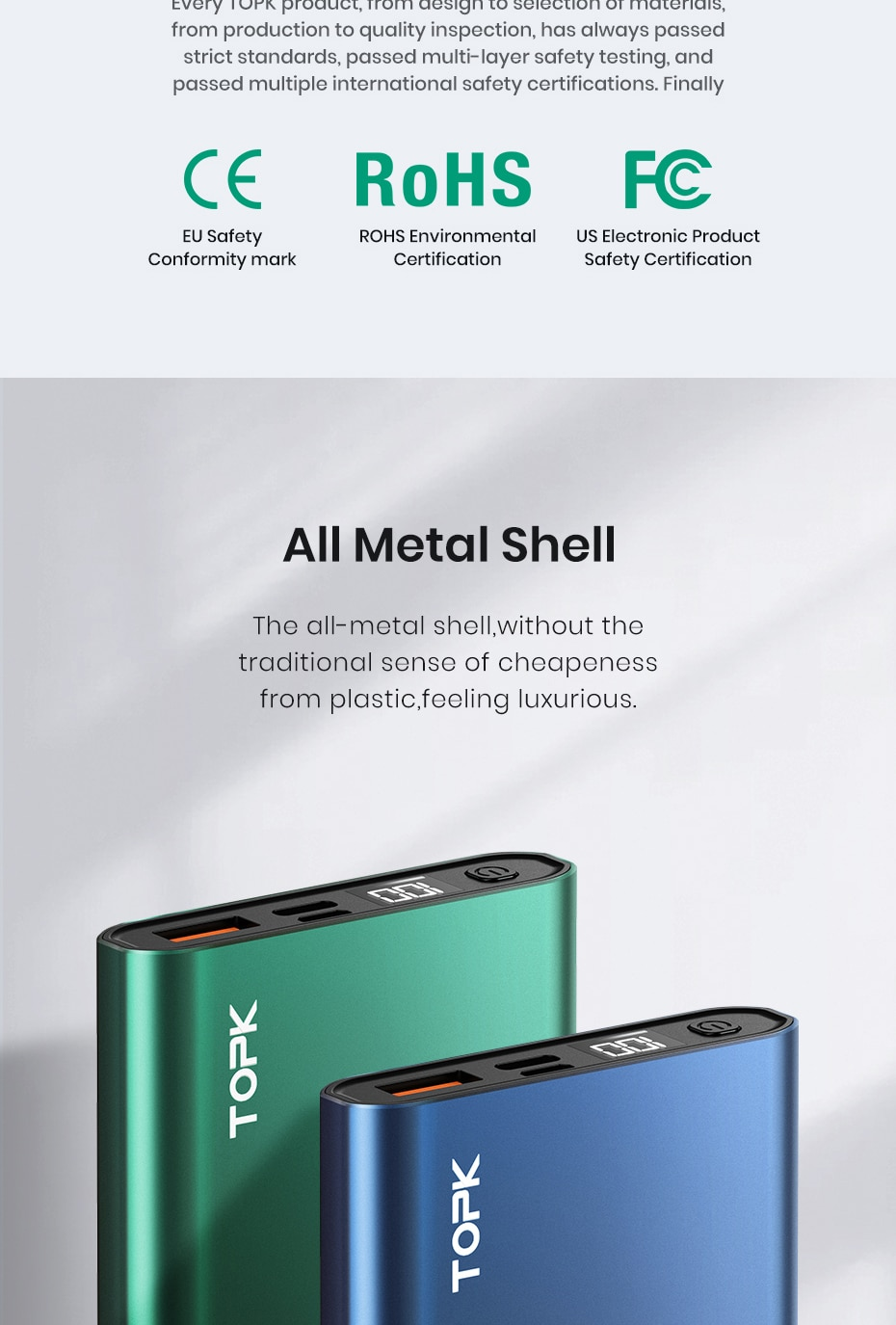 H63d65eafef4f4c5d850d9867f917faca2 - TOPK I1006P Power Bank 10000mAh Portable Charger LED External Battery PowerBank PD Two-way Fast Charging PoverBank for Xiaomi mi