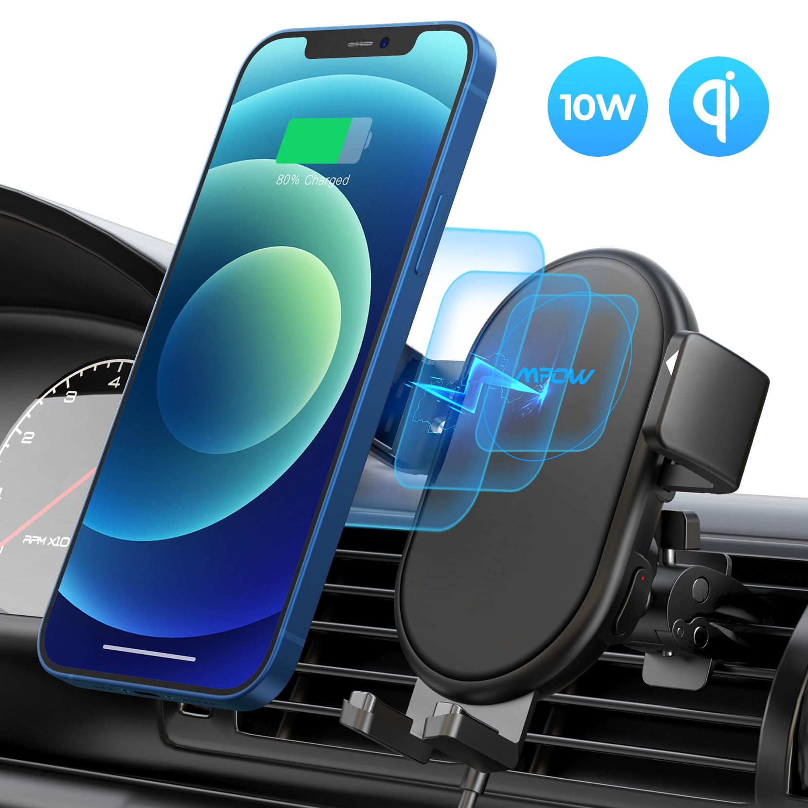 H67cee62b2e4a497bad1c59a2cbaa9544v - Mpow Wireless Car Charger Mount 10W Auto-clamping Qi Fast Charging Car Mount with Power Storage Car Phone Holder for iPhone 12