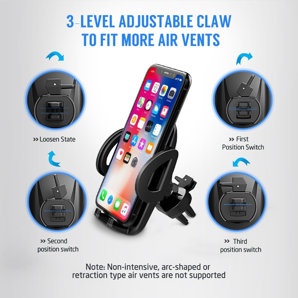 H68314e03cf1b451e85c88b5b4e1fffabt - Mpow Air Vent Car Mount Holder Universal Cell Phone Cradle 3-level Adjustable Clamp Mobile Phone Stand Cradle For iPhone X/8/7/6